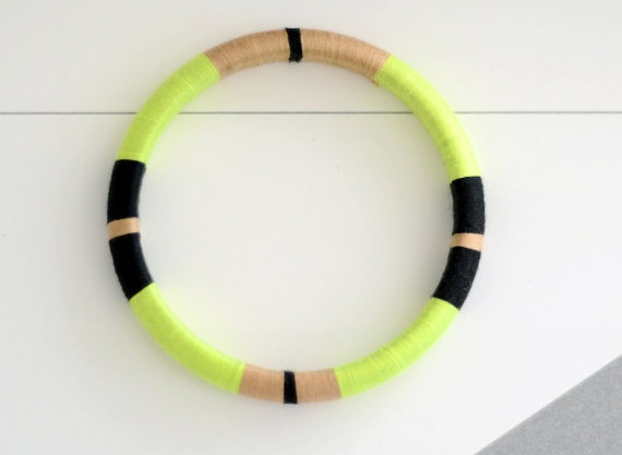 Neon Green Thread Bangle Bracelet with Stripes by theglossyqueen, $24.00