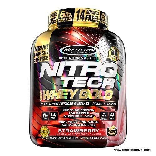 Muscletech nitro tech whey gold е хранителна добавка, която съдържа 24 грама протеин, 5.5 грама аминокиселини с разклонена верига и 4 грама глутамин в доза.