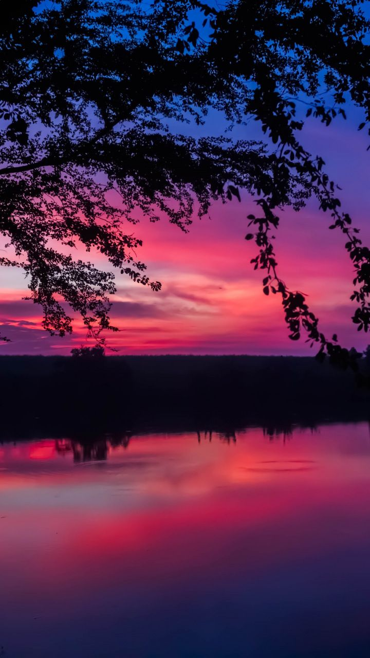 Twilight Sunset Colorful Sky Lake Nature 720x1280 Wallpaper Sky Pictures Nature Beautiful Nature Pictures Sunset Wallpaper