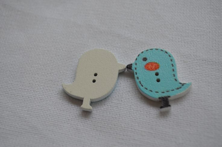 Set of 6 x cute blue bird wood buttons with 2 holes by yourbuttonshop on Etsy