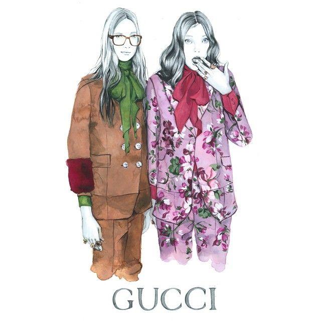 Morning inspiration. GUCCI? Oh yeah!  @gucci #GUCCI #sketch  #fashionsketch #fashion #illustration #fashionillustration #fall2015 #fashionart #illust #instaart #instastyle #instafashion #backstage #backstagegucci #art #artist @yumilambert @charlottelindvig #model #watercolor