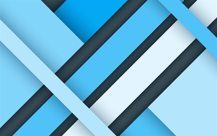 Download wallpapers blue abstraction, material design, blue lines, android