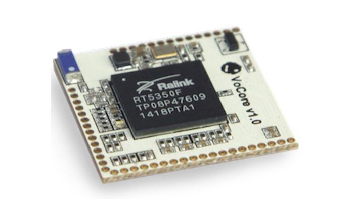 Ein Linux-Rechner, der lediglich die Fläche einer Zwei-Euro-Münze belegt, mit WLAN, LAN und USB 2.0 – das ist der VoCore. Für Anwendungen im Smart Home und Internet of Things ist er bestens ausgestattet.
