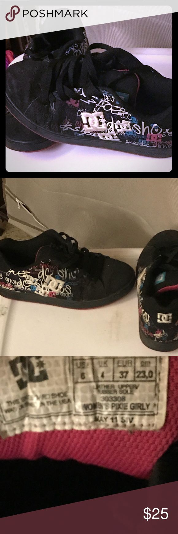 Dc sneaker Dc sneaker size 6 women's worn a few times been In storage so they are a little dusty in the picture but assure you they will be clean when shipped DC Shoes Sneakers