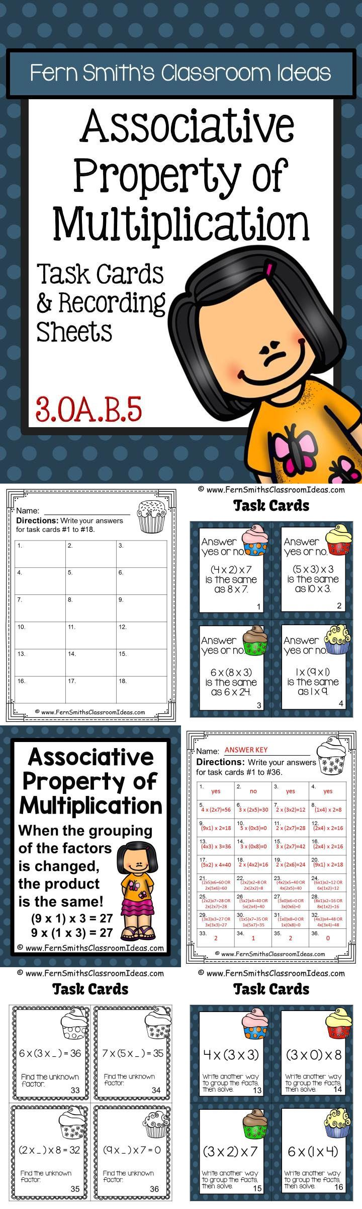 Associative Property of Multiplication Task Cards, Recording Sheets and Definition Poster  with Common Core Listings #tpt $paid #FernSmithsClassroomIdeas