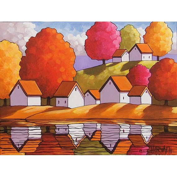 PAINTING ORIGINAL Folk Art Acrylic On Canvas Cottage Water Fall Tree  Abstract Autumn Modern Landscape Artwork By Horvath SoloWorkStudio12x16