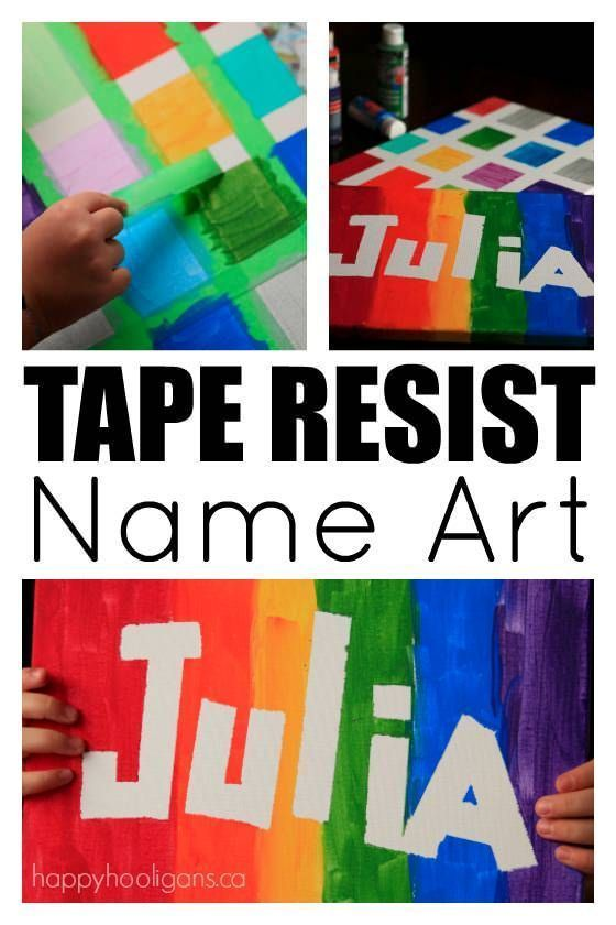 Tape Resist Name Art - Easy art with a huge WOW factor!  Good art project for toddlers, preschoolers, teens and tweens.  Everybody loves this process! - Happy Hooligans