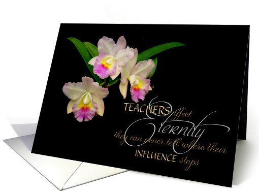 Teacher thank you orchids card