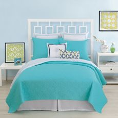 Bed Bath and Beyond, $129.99. I want to see it in person to check the blue! Trina Turk Santorini Coverlet, 100% Cotton - Turquoise
