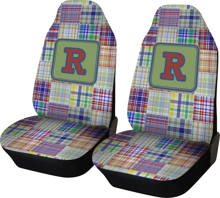Blue Madras Plaid Print Car Seat Covers (Set of Two) (Personalized)