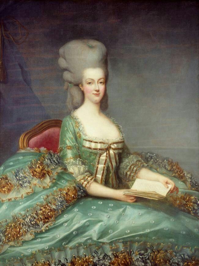 """Portrait by François Drouais - """"Marie-Antoinette au livre"""" (with a book) ca 1781."""