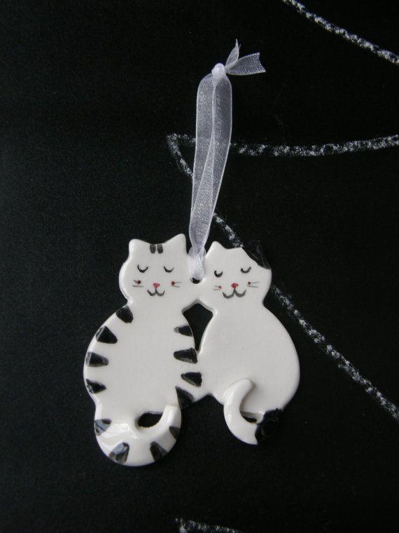 Loving Cats Ceramic Christmas Ornament  White by TatjanaCeramics, $7.00