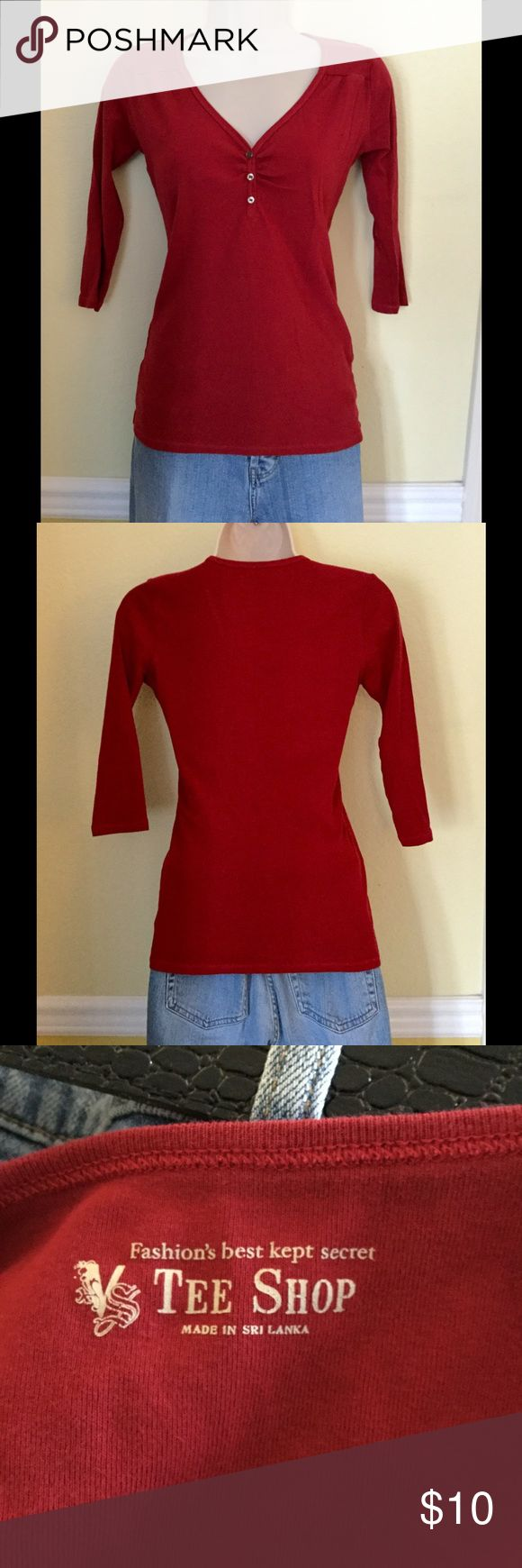 Beautiful red Henley top with 3/4 sleeves, S Victoria's Secret beautiful red, 3-button Henley top with 3/4 length sleeves, size small. EUC. Victoria's Secret Tops Tees - Long Sleeve