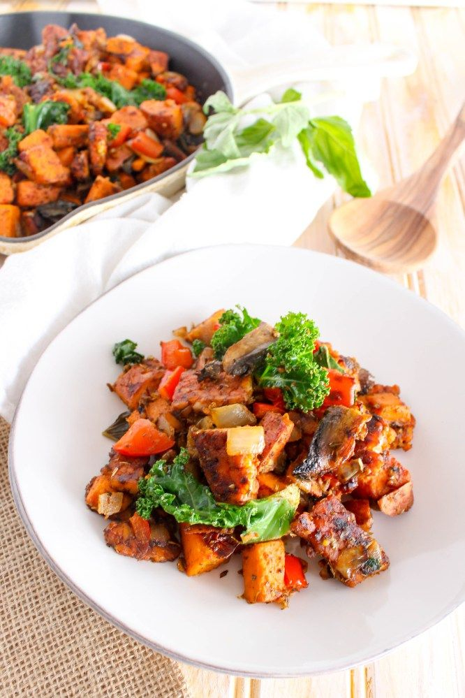 Image result for tempeh with sauteed carrots, spinach, and mushrooms