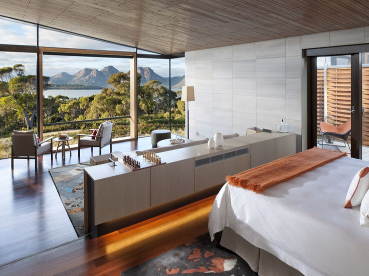 Tasmania's futuristic Saffire Freycinet, with beach views.