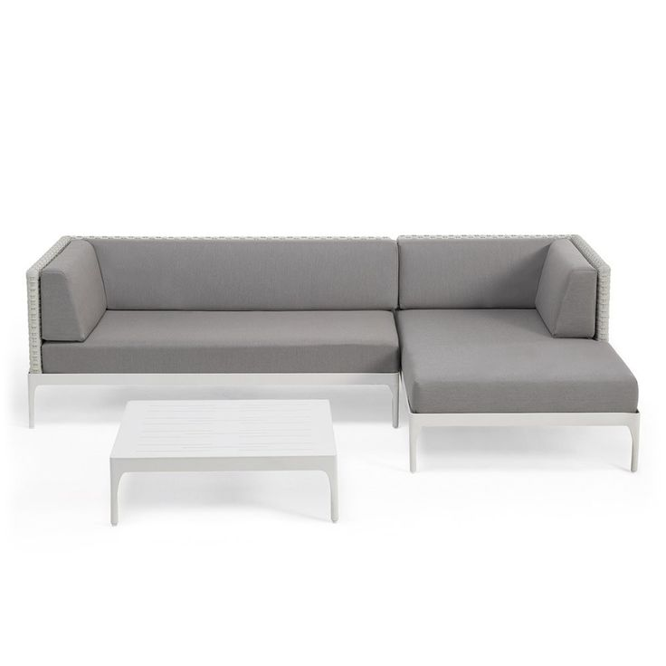 Ethimo+Infinity+Sofa+Set+3-Piece+-+Right++-+White+aluminium+outdoor+Ethimo+lounge+set+with+grey+upholstery. Enjoy+the+summer+sunshine+with+the+Ethimo+Infinity+3-Piece+Lounge+Set+-+Right. A+stylish+luxury+garden+furniture+addition+for+your+outdoor+living+space,+this+luxury+set+is+sold+as+a+complete+unit+and+each+configuration+comprises:•+1x+Ethimo+Infinity+Daybed+(Left+Hand)•+1x+Ethimo+Infinity+XL+Lounge+Corner+Module+(Right+Hand)•+1x+Ethimo+Infinity+Square+Coffee+Table Strea...