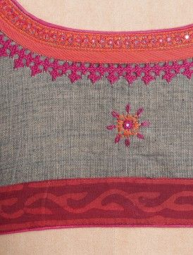 Grey-Orange Embroidered Cotton Blouse by Svasa