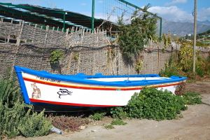 a local wooden fishing boat newly painted on dry land