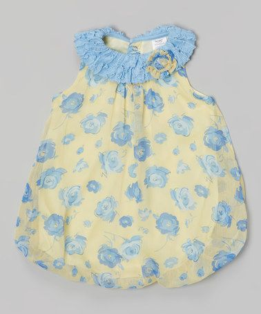 Another great find on #zulily! Yellow & Blue Floral Ruffle Bubble Bodysuit - Infant by Baby Essentials #zulilyfinds