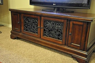 Media cabinet insert made from rubber doormat! Can also be spray painted for painted furniture.
