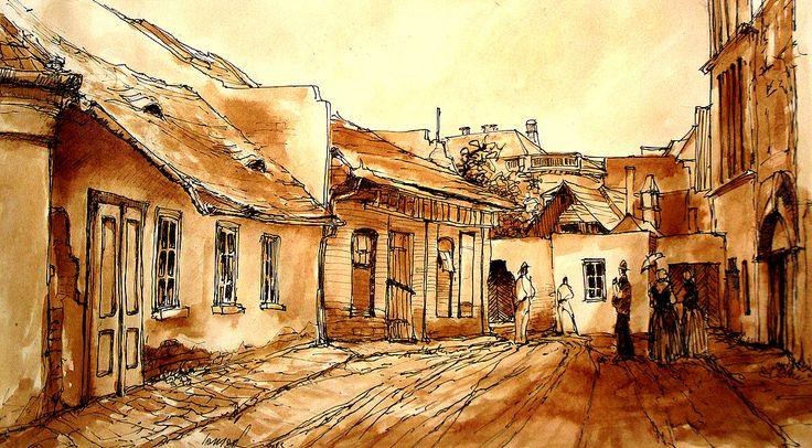 Szeged a régi Bajza utca .. Szeged old Bajza street .. Tus, diófapác , karton 29 x 42 cm