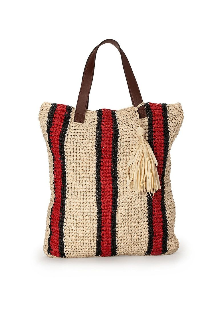 crochet raffia tote bag