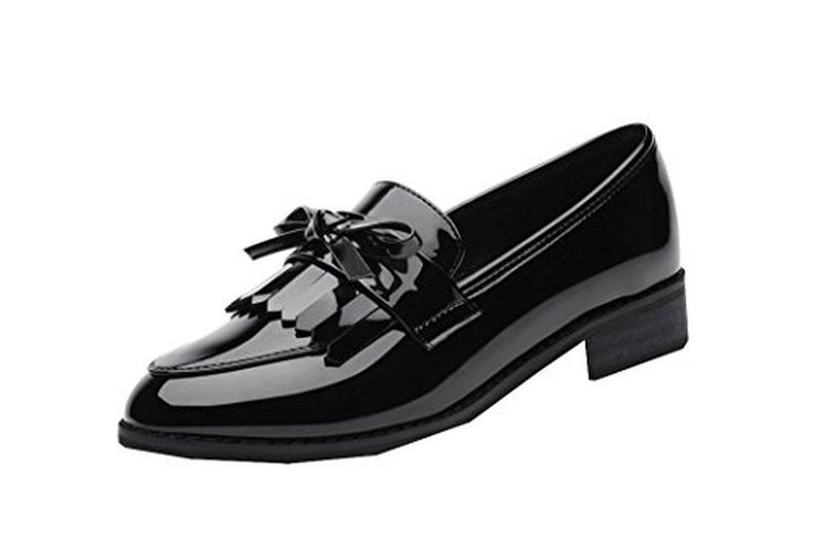 Ryse Women's Temperament Small Leather Shoes Bowknot Sweety Girls Rough Heels(37 M EU / 7 B(M) US, Black) - Brought to you by Avarsha.com