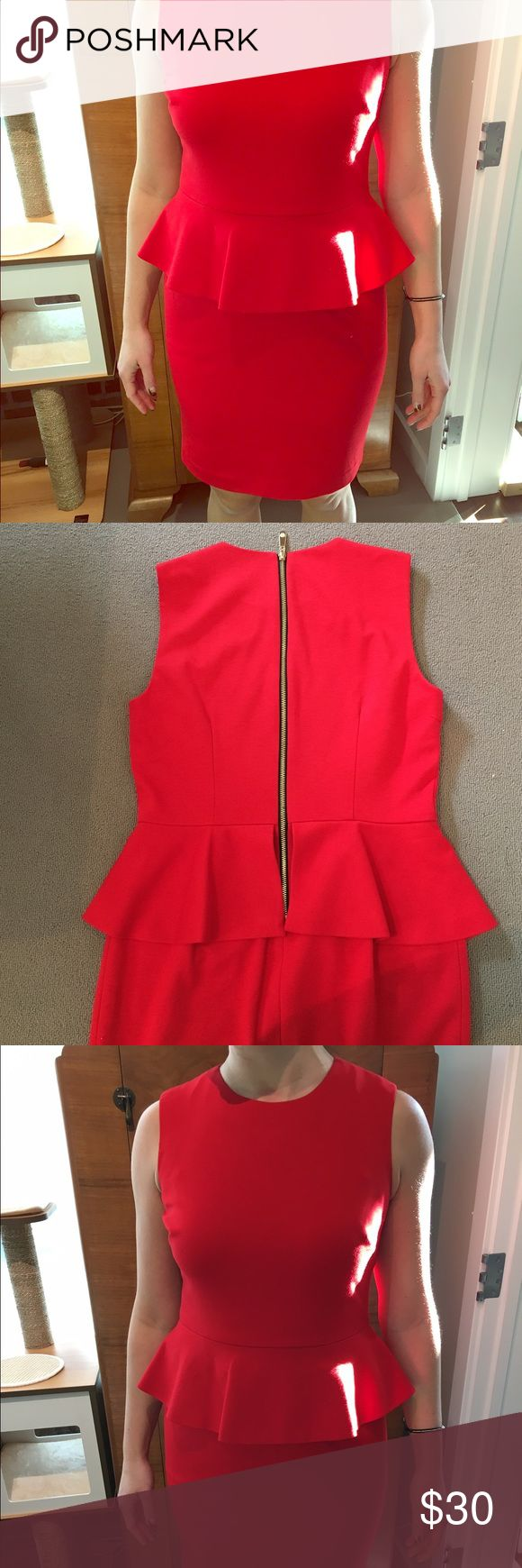 Vince Canute red peplum dress Red peplum dress, very flattering, sexy exposed back zipper Vince Camuto Dresses