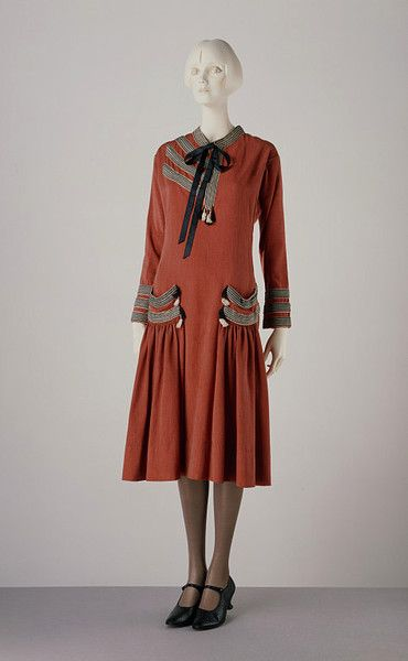 """Brique"" dress Paul Poiret, French  ca. 1924 Fine flecked worsted, trimmed with rayon braid and tassles, machine-stitched and hand-finished"