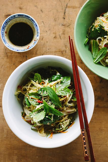 spicy rice noodle salad with pickled vegetables + sesame soy dressing