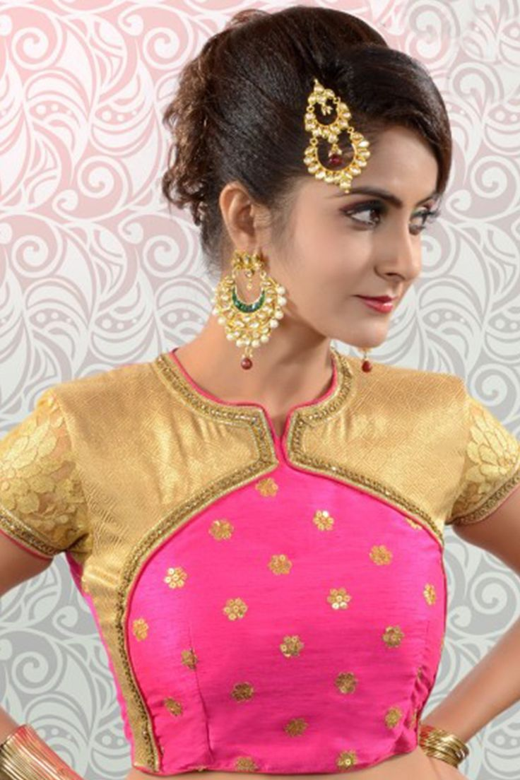 Rani #pink & #gold raw #silk & lace #graceful #blouse with cap sleeves -BL855