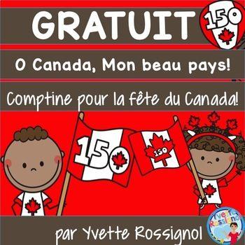 GRATUIT! Bonne fête du Canada! Petite comptine parfaite pour réciter à une célébration de cette journée spéciale!