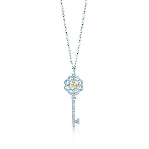 Tiffany Keys rose key of platinum and 18k gold with yellow and white diamonds.
