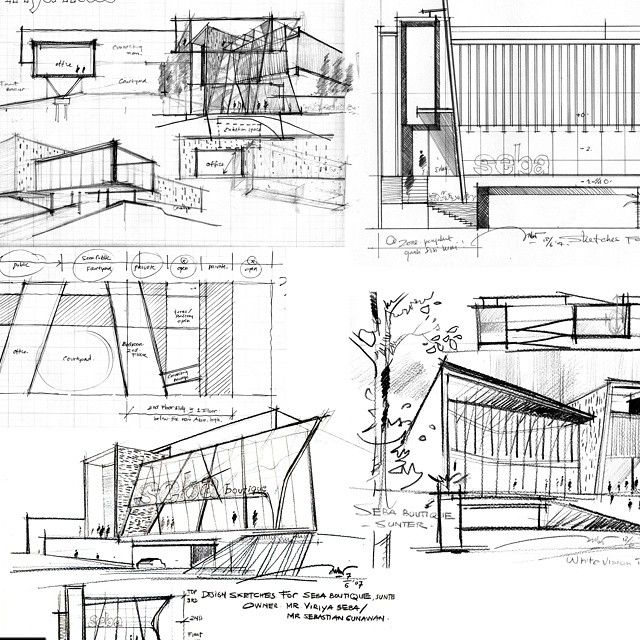 This series of drawings show a plan view, perspective views and sectional views of the particular building. The pen drawing techniques used have been executed well and successfully add details to the drawings.