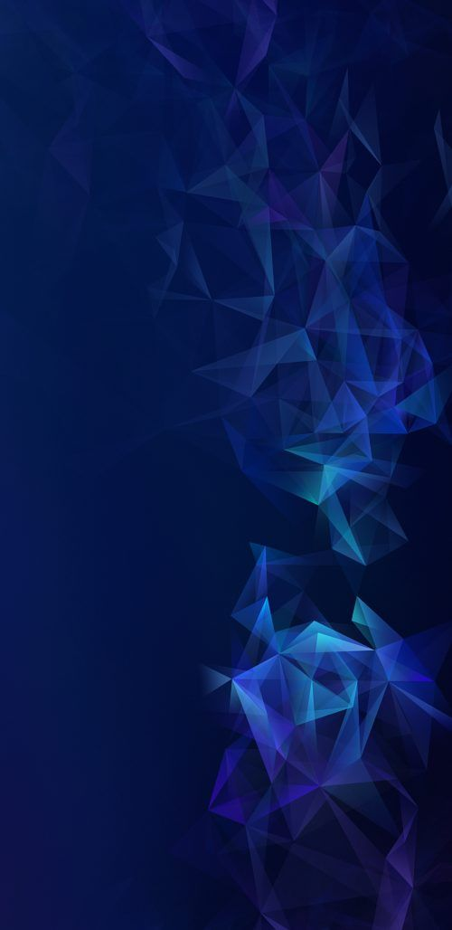 Official Wallpaper 06 of 15 for Samsung Galaxy S9 and Samsung Galaxy S9+ with Dark Blue Polygons
