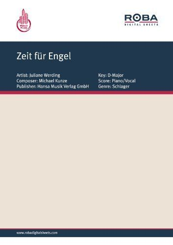 Zeit für Engel (German Edition) by Michael Kunze. $3.58. Publisher: Hansa Musik Verlag GmbH (August 20, 2012). 1 pages. This Ebook contains the score of the title in D-Major for Piano & Vocal.Dieses Ebook enthält die Notenausgabe des Werks in D-Dur für Klavier & Gesang.                            Show more                               Show less