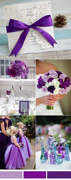 Elegant purple and white wedding color ideas and laser cut wedding invitations