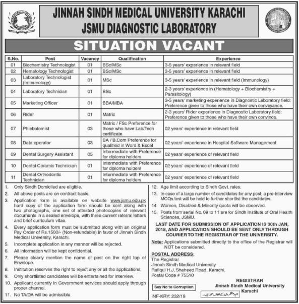 Jinnah Sindh Medical University Karachi, 19 Jobs 14 Jan 2018 Daily The Dawn