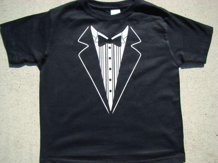 Wedding Tshirt -Child size Tux shirt-Ringbearer Rehearsal Shirt - super cute