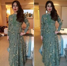 Kareena Kapoor wearing army green printed dress by Sabyasachi at Lakme Fashion Week 2016