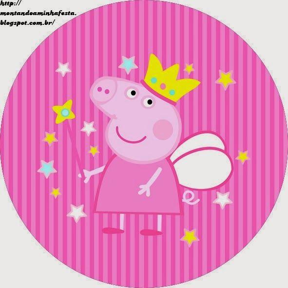 Etiquetas y Toppers de Peppa Pig Hada para Imprimir Gratis.