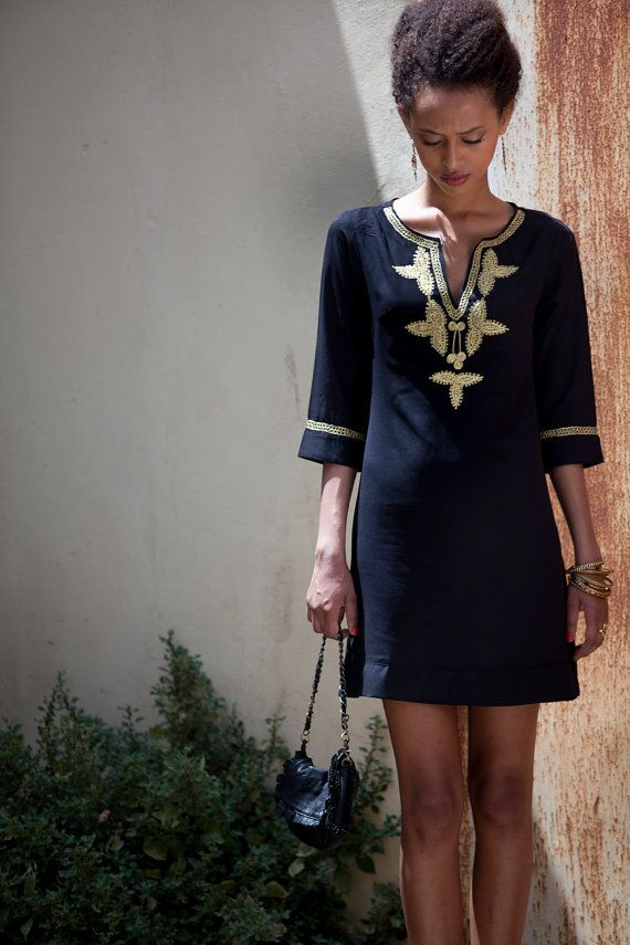 Short Kaftan Dress Black Moroccan Kaftan Gold by AnabellaWomen. Need this dress in my closet.