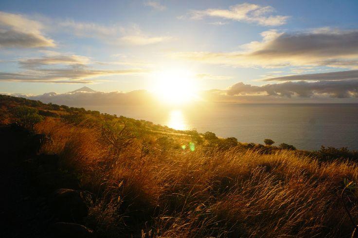 the sun rises over tenerife