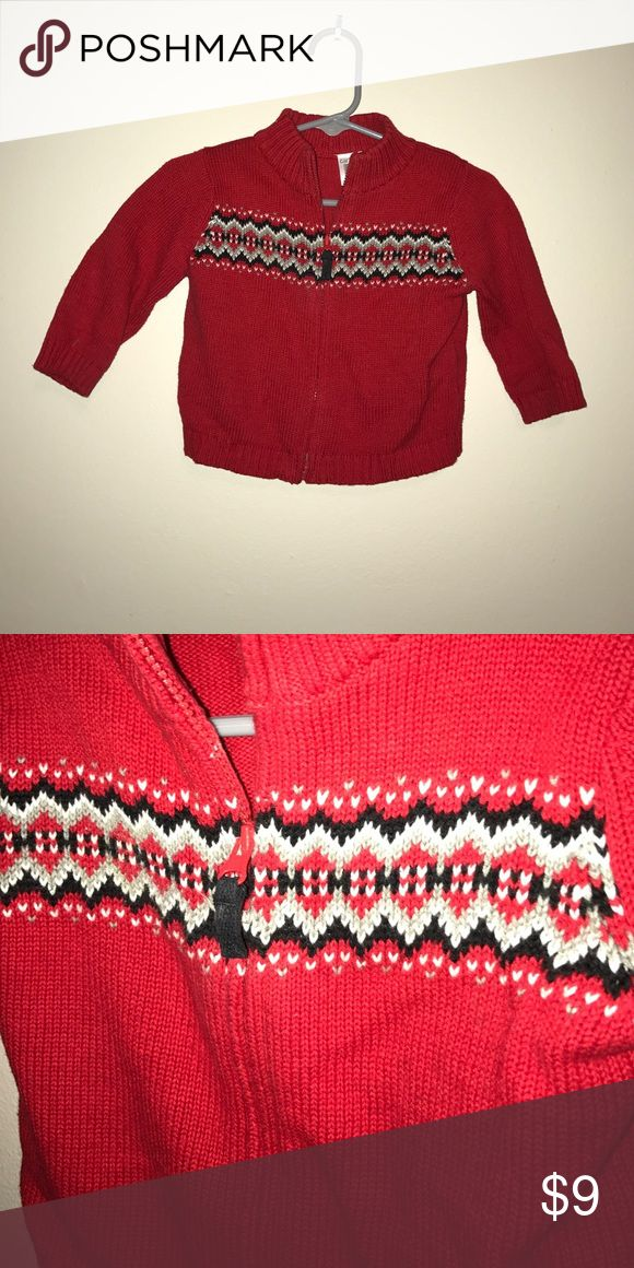 Zip Up Sweater Red zip up sweater - size 6M Carter's Shirts & Tops Sweaters
