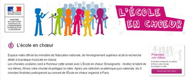 """[Date limite d'inscription 11 mai 2015] l'opération """"L'École en choeur"""""""