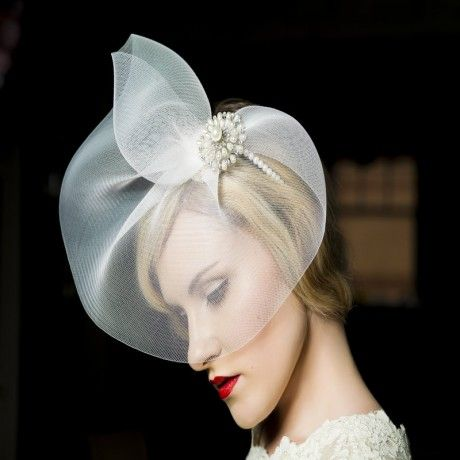 Hawthorn - a stunning crin veil that is detachable for the evening!  Available in pearl or diamante option. Try it on at Lace & Co. Bridal Boutique. Perfect for bride of mother-of-the-bride.