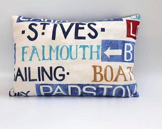boat beachhouse Nautical Cushion Cover seaside cotton canvas ship cornwall