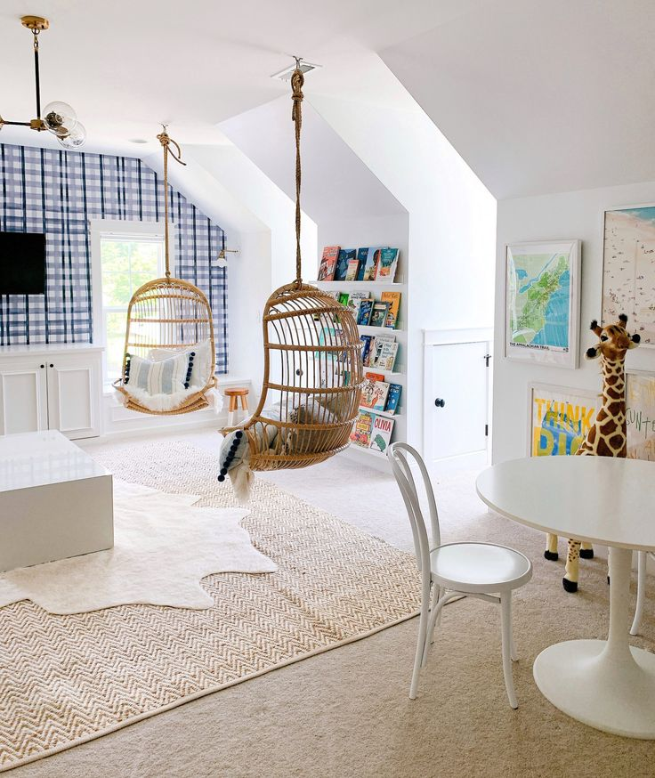 Hanging rattan chairs in our playroom in 2020 hanging