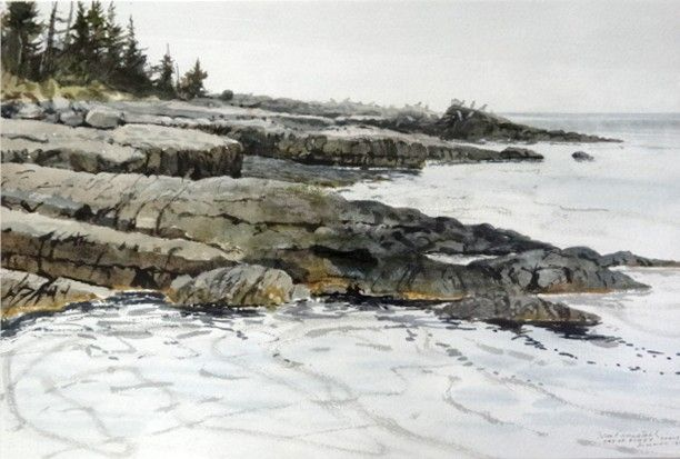 """Bay of Fundy Coast Summer 1988"" by Tom Forrestall, watercolour"