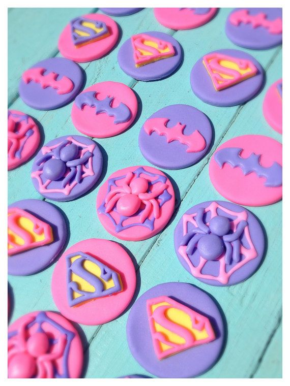 3 Day ONLY SALE!! Take 25% off your entire order using coupon code 3DAYSALE  24 Cupcake Toppers  Make your little girls Superhero party POP